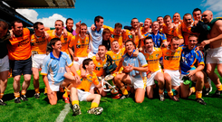 Antrim players celebrate their victory in the 2008 Tommy Murphy Cup, the final edition of the competition. Picture credit: Matt Browne / Sportsfile