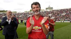 Gratitude: Roy Keane applauds the supporters after the match last month. Photo: Damien Eagers