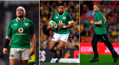 Rory Best (left), Bundee Aki (centre) and Joe Schmidt (right).