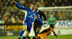 McCourt in action against Paul Ince and Wolves for Rochdale in 2003. Photo: Clive Brunskill/Getty Images