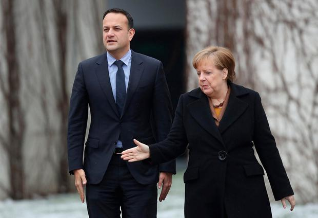 Allies: Taoiseach Leo Varadkar has been given assurances by German Chancellor Angela Merkel. Photo: Sean Gallup/Getty Images