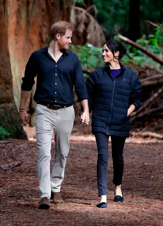 Prince Harry, Duke of Sussex and Meghan, Duchess of Sussex visit Redwoods Tree Walk on October 31, 2018 in Rotorua, New Zealand