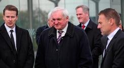 Bertie Ahern and Paddy Duffy's son, Gavin, left pictured at the funeral of Paddy Duffy, advisor to former Taoiseach. Photo: Colin Keegan, Collins Dublin.