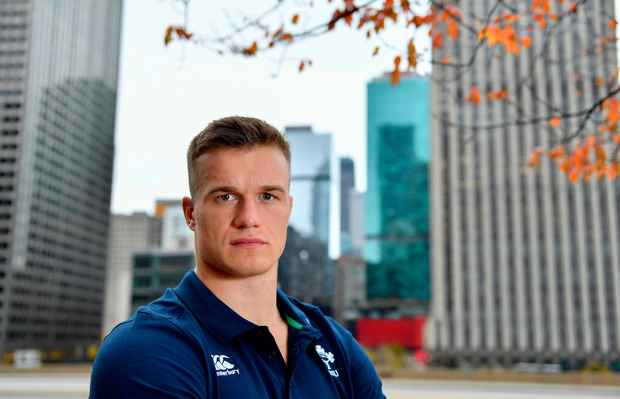 30 October 2018; Josh van der Flier poses for a portrait after an Ireland Rugby Press Conference at the Hyatt Regency in Chicago, USA. Photo by Brendan Moran/Sportsfile