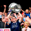 Dublin captain Stephen Cluxton lifts the Sam Maguire Cup. Photo by Stephen McCarthy/Sportsfile