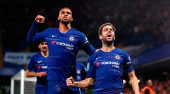 Chelsea's Cesc Fabregas (right) celebrates scoring his side's third goal of the game during the Carabao Cup, Fourth Round match at Stamford Bridge, London. Wednesday October 31, 2018. Nick Potts/PA Wire.