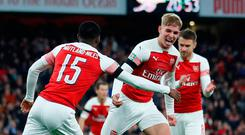Soccer Football - Carabao Cup Fourth Round - Arsenal v Blackpool - Emirates Stadium, London, Britain - October 31, 2018 Arsenal's Emile Smith Rowe celebrates scoring their second goal with Ainsley Maitland-Niles. REUTERS/Eddie Keogh