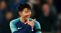 Soccer Football - Carabao Cup Fourth Round - West Ham United v Tottenham Hotspur - London Stadium, London, Britain - October 31, 2018 Tottenham's Son Heung-min celebrates scoring their second goal Action Images via Reuters/Matthew Childs