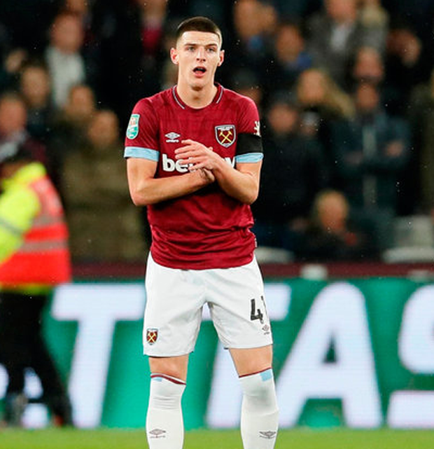 Rice's childhood club Chelsea have been linked with a move for the West Ham player's services amid his ongoing contract dispute. Photo: Reuters