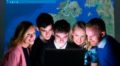 Pictured announcing Esri Ireland's ArcGIS for Schools programme are (L-R): Joanne McLaughlin, ArcGIS for Schools Sponsor, Esri Ireland; St. Kevin's College Finglas students, Casey Farren Colloty and Nathan Furlong; Aideen Croasdell, ArcGIS for Schools Programme Team, Esri Ireland; and Andrew Horan, geography teacher at Saint Kevin's College Finglas.