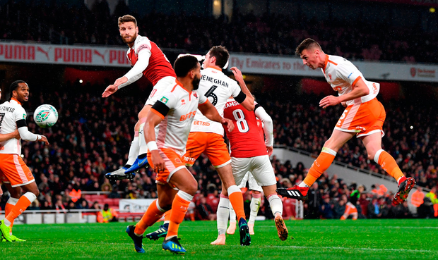 Paudie O'Connor of Blackpool scores. Photo by Shaun Botterill/Getty Images