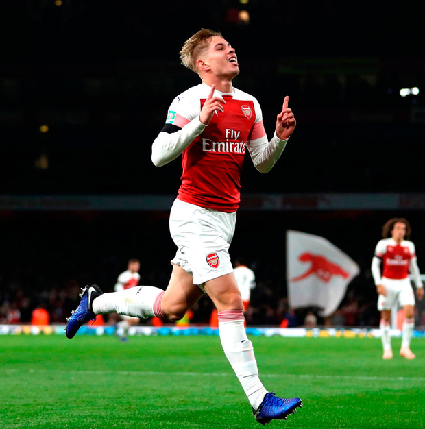 Emile Smith-Rowe of Arsenal celebrates after scoring his team's second goal. Photo by Naomi Baker/Getty Images
