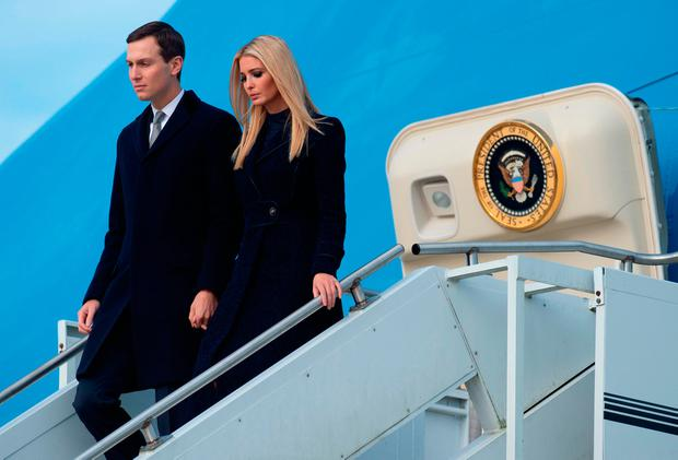 Ivanka Trump and Jared Kushner, White House Senior Advisers, disembark from from Air Force One as they travel with US President Donald Trump and First Lady Melania Trump upon arrival at Pittsburgh International Airport in Pittsburgh, Pennsylvania, October 30, 2018, following the shooting at the Tree of Life Synagogue. (Photo by SAUL LOEB / AFP)SAUL LOEB/AFP/Getty Images