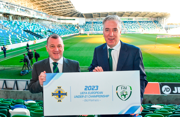 Patrick Nelson, Irish FA Chief Executive, left, and John Delaney, FAI Chief Executive during a special announcement that the Football Association of Ireland and the Irish Football Association will bid to host the UEFA Under-21 Championship in 2023