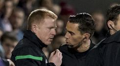 Referee speaks with Neil Lennon in Hearts match