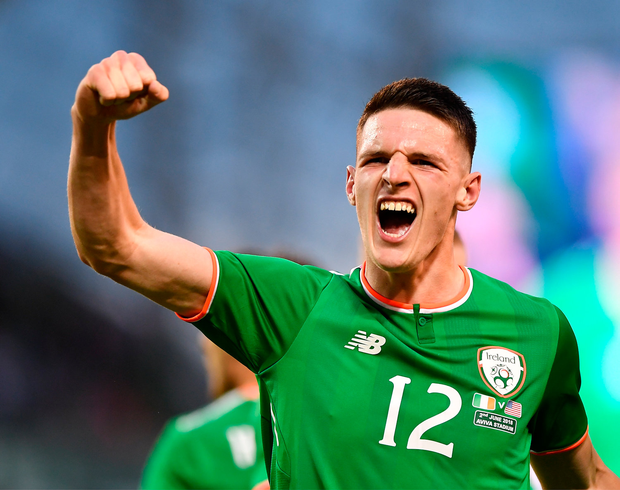 2 June 2018; Declan Rice of Republic of Ireland celebrates his side's first goal scored by Graham Burke during the International Friendly match between Republic of Ireland and the United States at the Aviva Stadium in Dublin.Photo by Seb Daly/Sportsfile