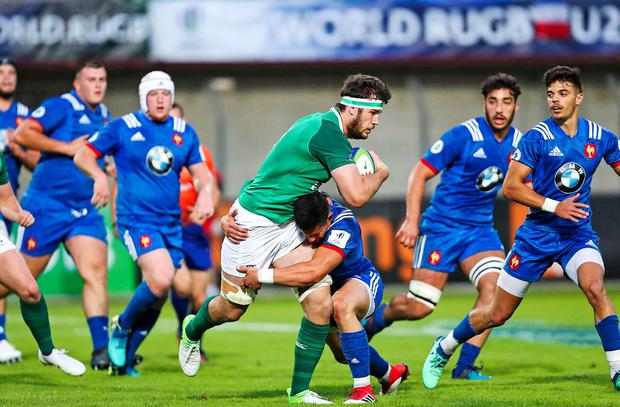 Caelan Doris in action for Ireland's U-20s against France earlier this year. Photo: Brendan Moran/Sportsfile