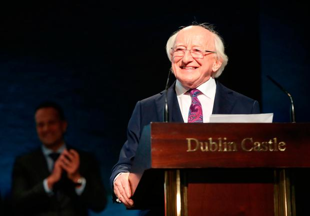 Michael D Higgins makes his victory speech after he was announced as the winner of Ireland's presidential election at Dublin Castle. Photo: Niall Carson/PA Wire
