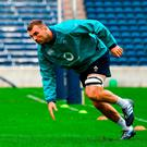 Tadhg Beirne goes through his paces during an Ireland training session at Toyota Park in Chicago yesterday. Photo: Brendan Moran/Sportsfile