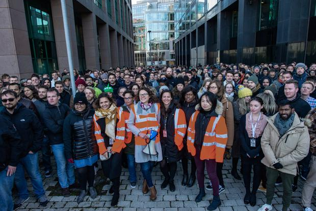 Solidarity: Google workers gather outside the Dublin office. Picture: Doug O'Connor