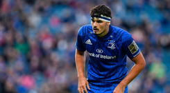 15 September 2018; Max Deegan of Leinster during the Guinness PRO14 Round 3 match between Leinster and Dragons at the RDS Arena in Dublin. Photo by Brendan Moran/Sportsfile