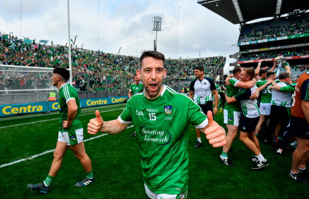 19 August 2018; Graeme Mulcahy of Limerick following their victory in the GAA Hurling All-Ireland Senior Championship Final match between Galway and Limerick at Croke Park in Dublin. Photo by Ramsey Cardy/Sportsfile