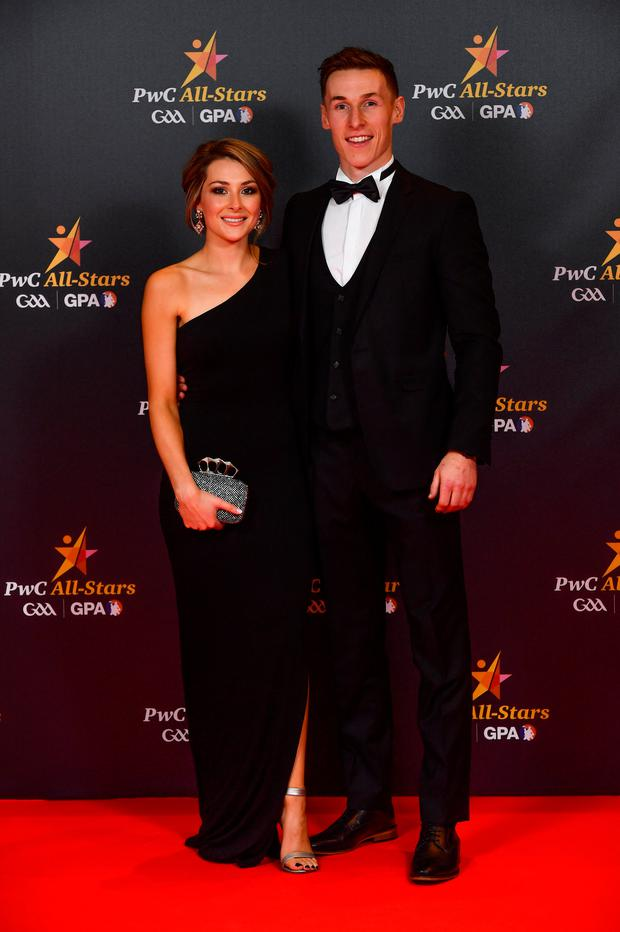 Kilkenny hurler Cillian Buckley with Niamh Dowling upon arrival at the PwC All Stars 2018 at the Convention Centre in Dublin. Photo by Ramsey Cardy/Sportsfile