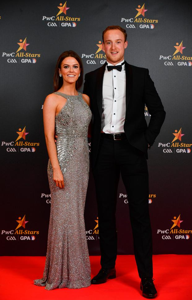 Fermanagh footballer Che Cullen with Niamh Dolan upon arrival at the PwC All Stars 2018 at the Convention Centre in Dublin. Photo by Sam Barnes/Sportsfile