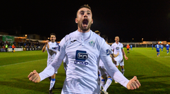 2 November 2018; Nathan Boyle of Finn Harps celebrates after scoring his side's second goal during the SSE Airtricity League Promotion / Relegation Play-off Final 2nd leg match between Limerick FC and Finn Harps at Market's Field in Limerick. Photo by Matt Browne/Sportsfile