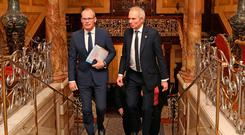 Talks: Tánaiste Simon Coveney with British Cabinet Office Minister David Lidington at a meeting of the British-Irish Inter- Governmental Conference in Dublin. PHOTO: JULIEN BEHAL