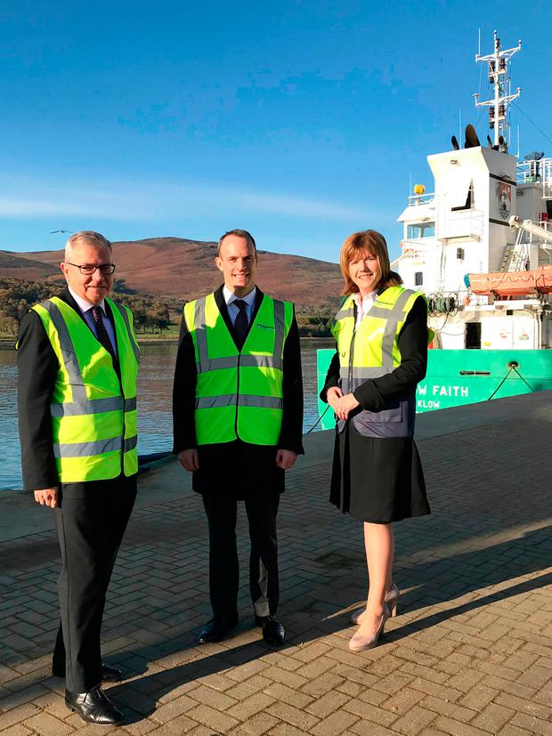 UK Brexit Secretary Dominic Raab at Warrenpoint Port. Picture: PA