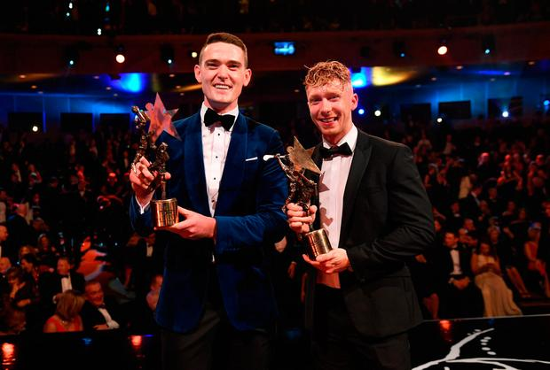 Footballer of the Year Brian Fenton and Hurler of the Year Cian Lynch at the PwC All Stars at the Convention Centre, Dublin. Picture: Sportsfile