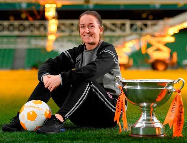 Kylie Murphy will be hoping to get her hands on the cup for real tomorrow. Photo: Eóin Noonan/Sportsfile