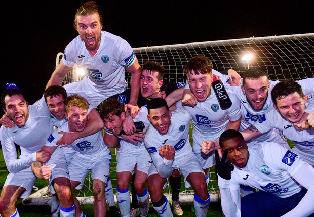 Finn Harps players celebrate after the game. Photo: Matt Browne/Sportsfile