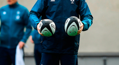 Joe Schmidt during the Ireland rugby captain's run at Soldier Field in Chicago