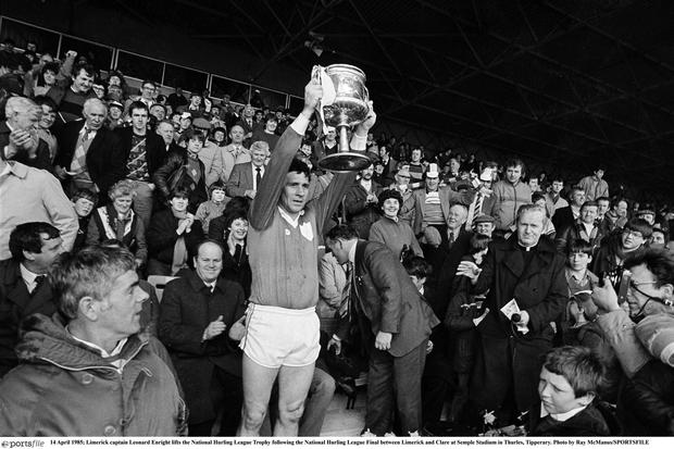Limerick captain Leonard Enright lifts the National Hurling League Trophy