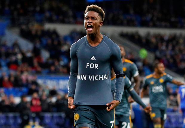 Leicester City's Demarai Gray celebrates scoring their winner