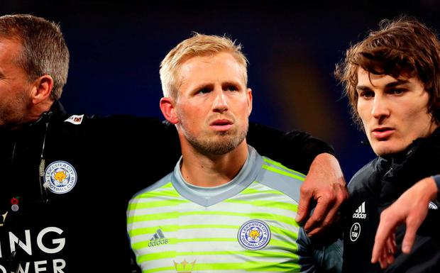 Kasper Schmeichel of Leicester City looks emotional afte the Premier League match between Cardiff City and Leicester City at Cardiff City Stadium on November 3, 2018 in Cardiff, United Kingdom. (Photo by Richard Heathcote/Getty Images)