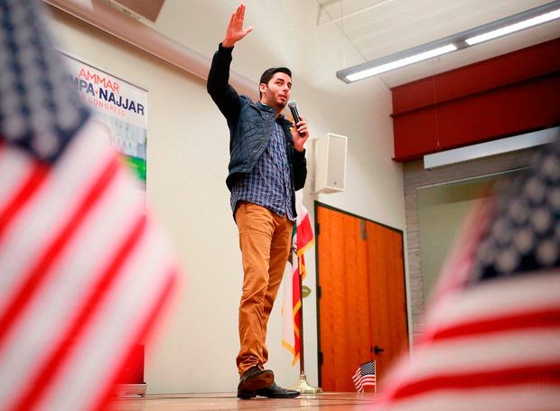 Ammar Campa-Najjar (D-CA), who is running for congress in California's 50th District, addresses supporters during a campaign rally