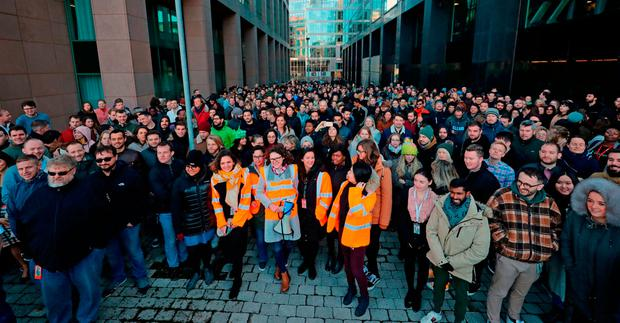 Staff at the Google offices in Dublin following their walkout protest. Photo: Niall Carson/PA Wire