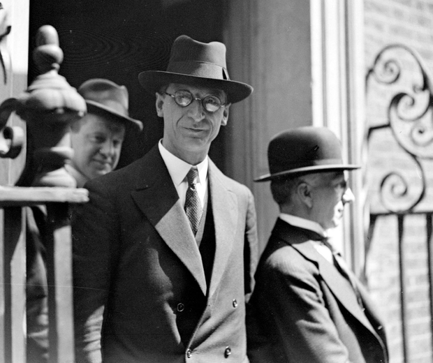 Eamon de Valera on the steps of Downing Street, London, in 1932 after successfully negotiating Ireland's neutrality