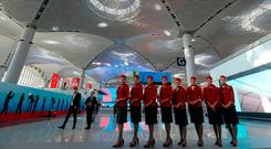 Cabin crew from Turkish Airlines at the new terminals, which opened last Monday. Photo: Reuters
