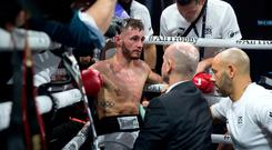 Ryan Burnett reacts in his corner after losing to Nonito Donaire during their WBA World Championship bout at The SSE Hydro, Glasgow.