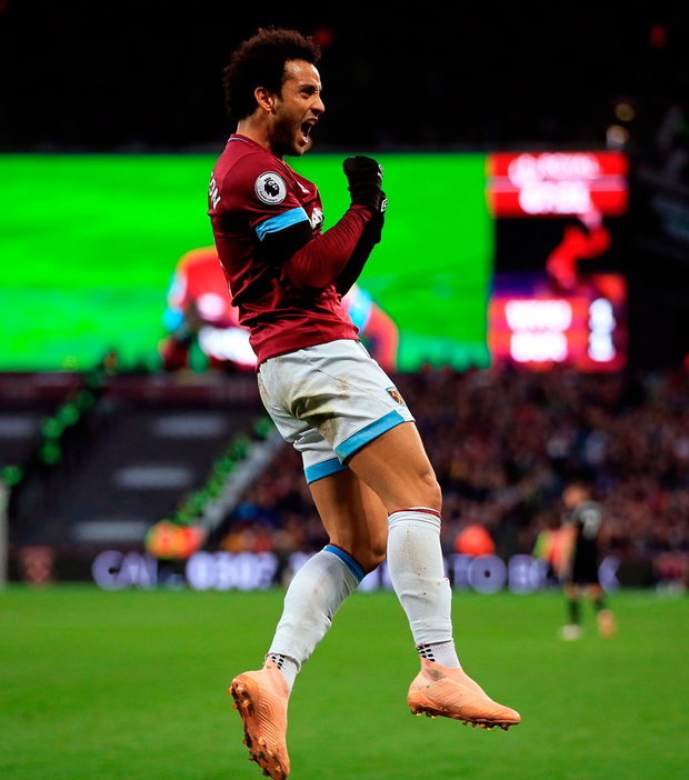 Felipe Anderson of West Ham United celebrates scoring their 2nd goal. Photo: Marc Atkins/Getty Images