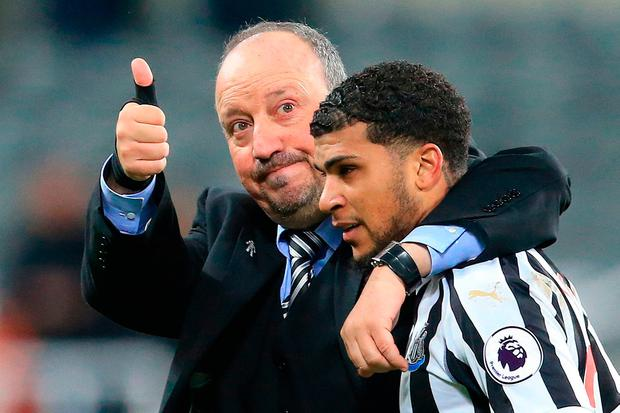 Newcastle United's Spanish manager Rafael Benitez (L) celebrates with Newcastle United's US defender DeAndre Yedlin. Photo: Getty