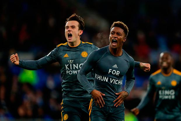Demarai Gray of Leicester City celebrates with Ben Chilwell of Leicester City after scoring. Photo: Richard Heathcote/Getty Images