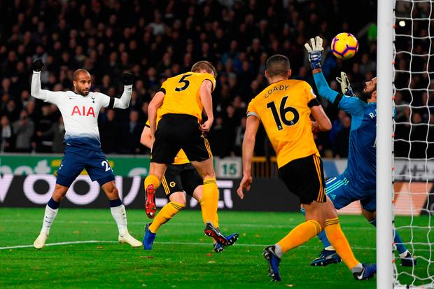 Lucas Moura of Tottenham Hotspur scores his team's second goal. Photo: Ross Kinnaird/Getty Images