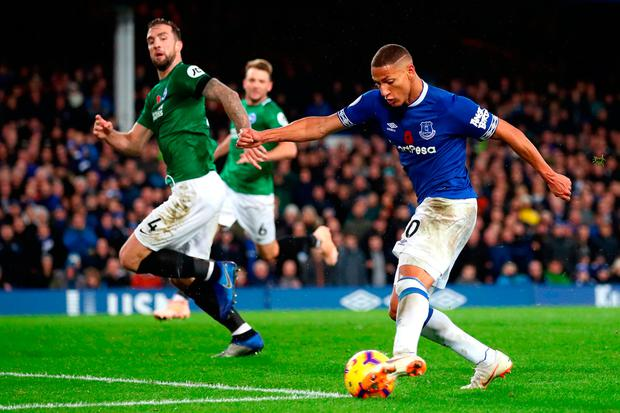 Richarlison of Everton scores his team's third goal during. Photo: Clive Brunskill/Getty Images