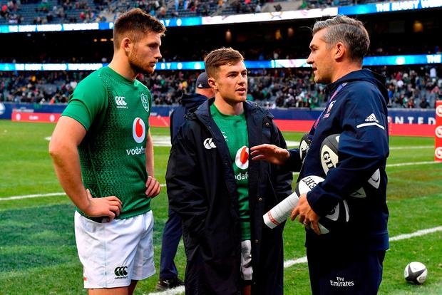 Ross Byrne, left, and Luke McGrath of Ireland in conversation with USA Assistant coach Greg McWilliams after the International Rugby match between Ireland and Italy at Soldier Field in Chicago, USA. Photo by Brendan Moran/Sportsfile