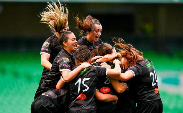 Wexford Youths players celebrate after Katrina Parrock, hidden, scored their side's winner during the Continental Tyres FAI Womens Senior Cup Final match between Peamount United and Wexford Youths Women FC at the Aviva Stadium in Dublin. Photo by Ramsey Cardy/Sportsfile